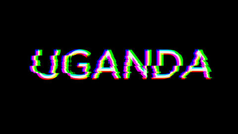 From the Glitch effect arises country name UGANDA. Then the TV turns off. Alpha channel Animation