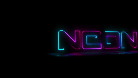 Animation 'Neon' line draws neon letters Footage