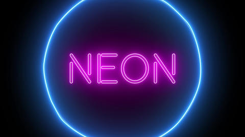 Animation zoom flashing neon sign 'Neon' Live Action