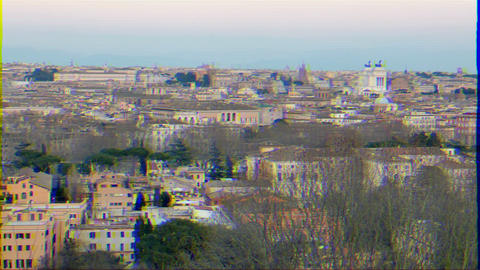 Glitch effect. Rome after sunset. Italy Live Action