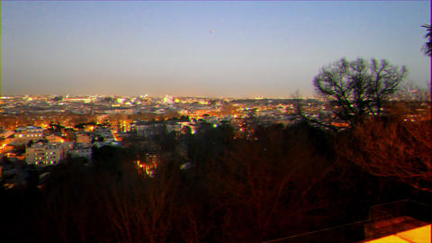 Glitch effect. Night panorama of Rome. Italy Live Action