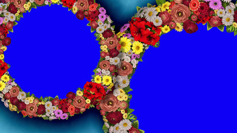 Animation of two rotating rings of flowers on a blue background. The chroma key. Loop video Animation