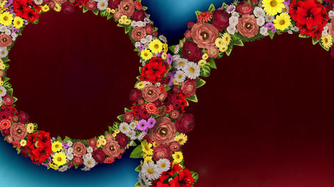 Animation of two rotating rings of flowers on light blue... Stock Video Footage