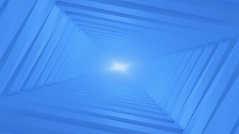 Blue Rectangular Endless Tunnel Animation