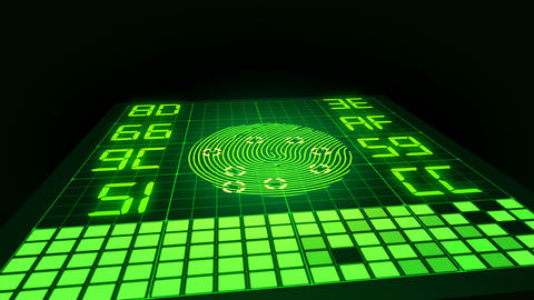 Green glowing digital finger touches fingerprint scanner surface and starts biometric data analyzing Animation