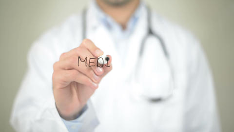 Medical Care, Doctor Writing On Transparent Screen stock footage