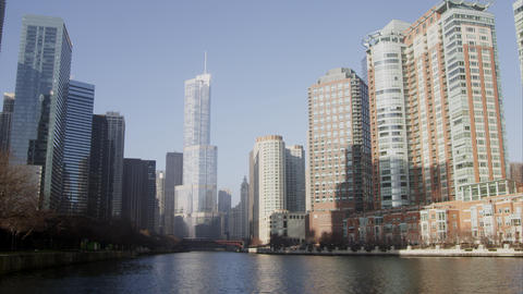 Shot of downtown Chicago featuring the Trump building Footage