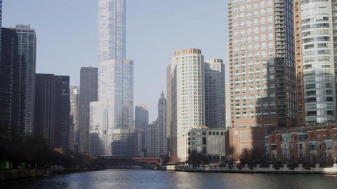 Static shot of the the Trump building in downtown Chicago Footage