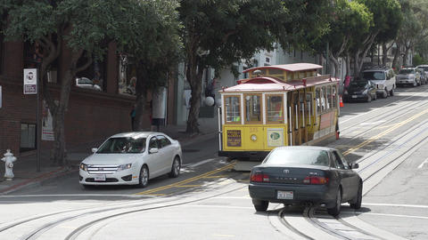 A Trolley Car takes passengers around the city of San Francisco Footage