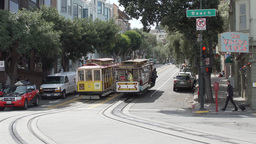 A Trolley Car loaded with passengers in San Francisco Footage