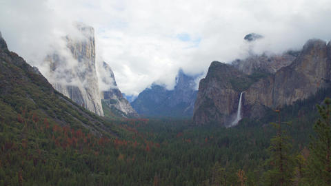 A spring storm moving though Yosemite Valley Footage
