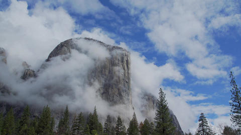 Stunning view of clouds blowing around El Capitan Footage