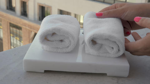 Fresh facial towels in hotel or spa Live Action
