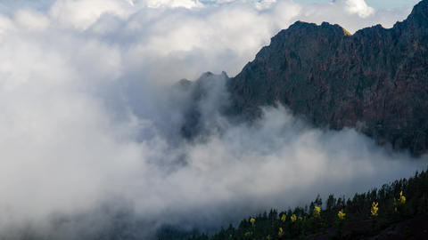 Sea of clouds in mountainous landscape in teide national park, tenerife, Spain Footage