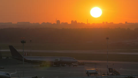 Golden sunset and airport view Footage