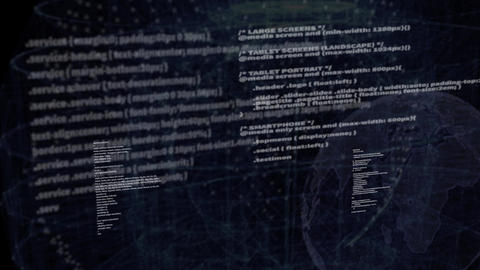Programming Network Code on black screen background Footage