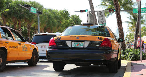 Yellow Taxi Cab On Ocean Drive Miami Beach Footage