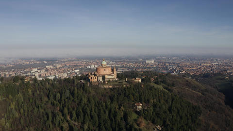Sanctuary of the Madonna di San Luca basilica, aerial view. Bologna, Italy Footage