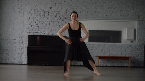 Slow motion - funny dance in the studio, crazy movement in slow motion Live Action
