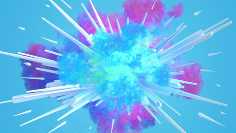 Colored smoke explosion in 4K Animación