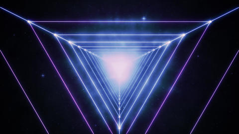Blue and Violet Space Neon Triangles Animation