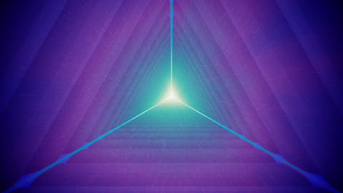 Violet Triangular Tunnel and Particles Animation
