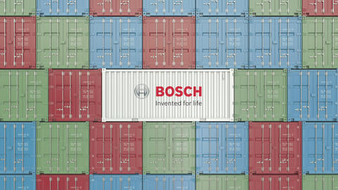 Cargo container with Bosch corporate logo. Editorial 3D animation Live Action