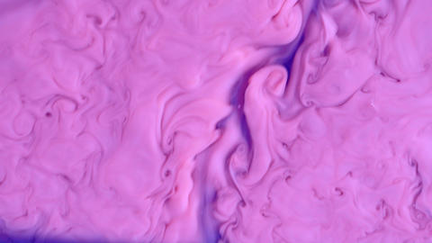 Colorful chemical experiment. Abstract stream acrylic paint of bright violet, purple and pink colors Live Action