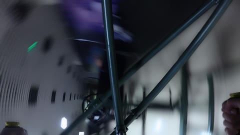 A man trains the vestibular apparatus on the simulator gyroscope for astronauts Archivo
