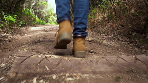 Low angle view following a hiker walking in the woods Footage