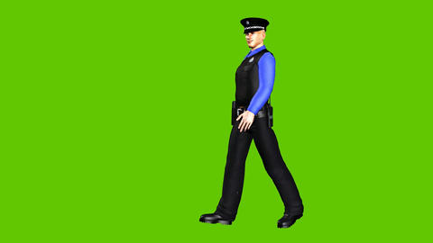 09 animated Policeman walks arround on a green background Animation