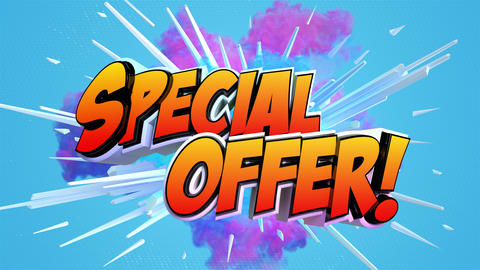 Comic explosion style animation of Special Offer label GIF
