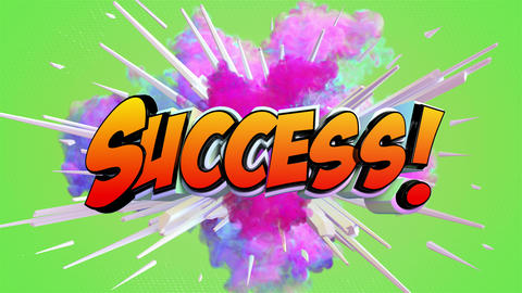 Comic explosion style animation of Success label Animation