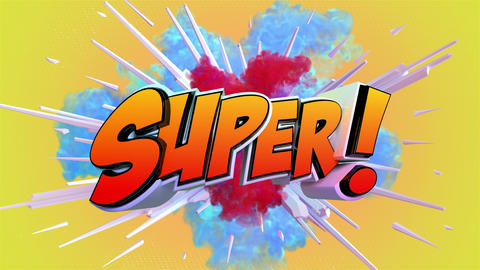 Comic explosion style animation of Super label Animation