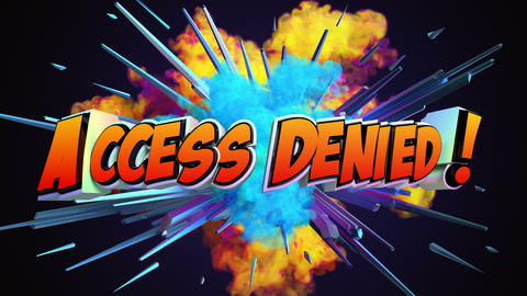 Comic explosion style animation of Access Denied text GIF