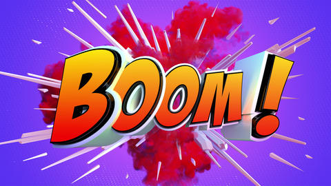 Comic explosion style animation of Boom label Animation