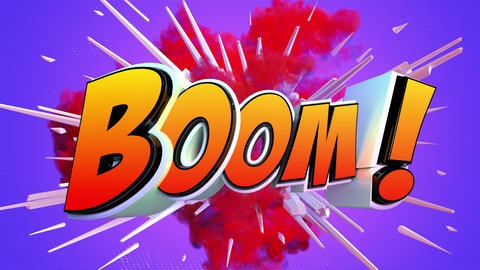 [alt video] Comic explosion style animation of Boom label