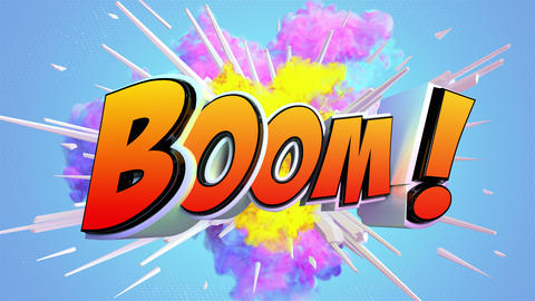Comic explosion style animation of Boom text Animation