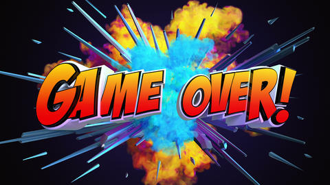 Comic explosion style animation of Game Over text Animation