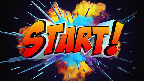 Comic explosion style animation of Start text Animation