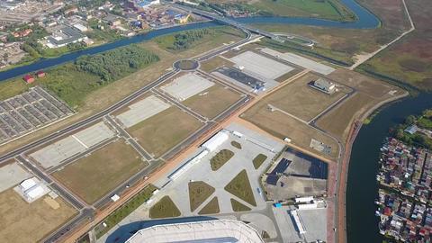 Russia, Kaliningrad. Aerial view of the stadium Kaliningrad - a football stadium in Kaliningrad, Footage
