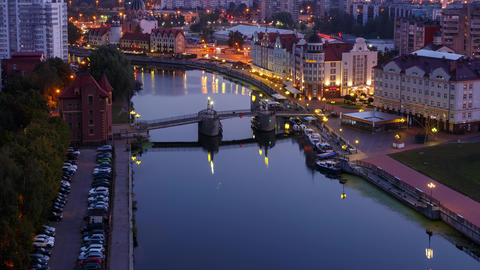 Long transition from night to day. City center of Kaliningrad. View of the Fish Village and the Footage