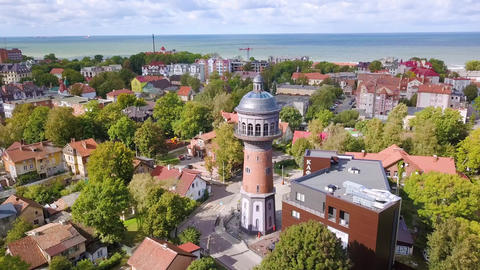 Russia, Zelenogradsk. Water tower Krantz. The city water tower was built in Kranz in 1904. Tower Live Action