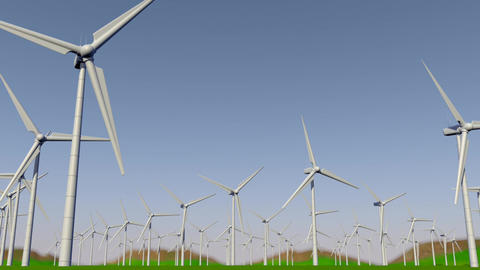 Front movement of the camera from left to right through a group of turbines forming a Wind Farm on a Animation