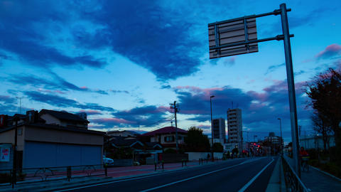 Sunset time lapse at the downtown street in Nerima Tokyo Footage