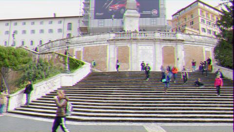 Glitch effect. Spanish Steps. Rome, Italy GIF