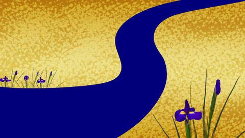 Flowering of Japanese pattern and iris Animation