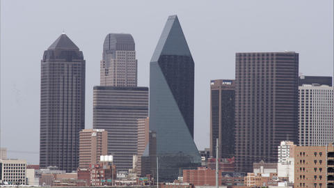 Medium tight shot of several skyscrapers in Dallas Footage