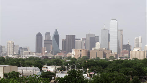 Panning left shot of the downtown Dallas skyline Footage