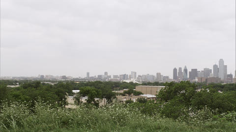 Wide distant panning shot of the Dallas skyline Footage